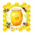 Bees with glass jar — Vector de stock