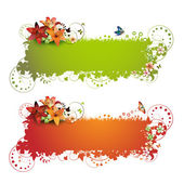 Green and red background with flowers — Stock Vector