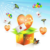 Valentine's box with big heart — Vector de stock