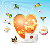 Big heart with envelopes — Stockvector