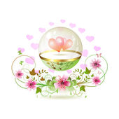 Globe en verre avec coeurs — Vecteur