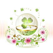 Clover in glass globe — Stock Vector