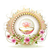Circular floral frame with heart — Stock Vector