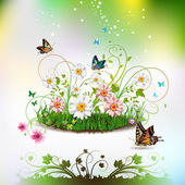 Flowers in the grass — Stock Vector