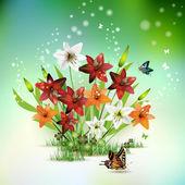 Kwiaty w trawie — Wektor stockowy