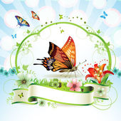 Butterfly with flowers — Stock Vector