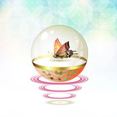 Butterfly isolated in glass globe — Stock Vector
