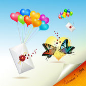 Envelopes raised by balloons — Vector de stock