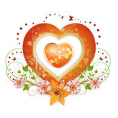 Floral frame with shape heart — Stock Vector