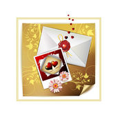 Envelope and photo with hearts — Vector de stock
