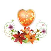 Heart decorated with flowers — Stock Vector