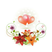 Hearts decorated with flowers — Stock Vector