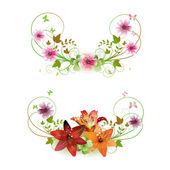 Układ kwiaty i motyle — Wektor stockowy