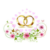 Two wedding ring with hearts — Stock Vector