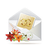 Envelope with photo of two wedding ring — Stockvektor