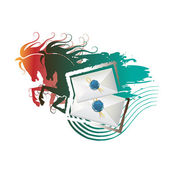Envelopes with seal and running horses — Vector de stock