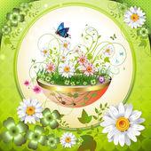Flowers in the flowerpot — Wektor stockowy