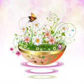 Flowers in suspended flowerpot — Stock Vector