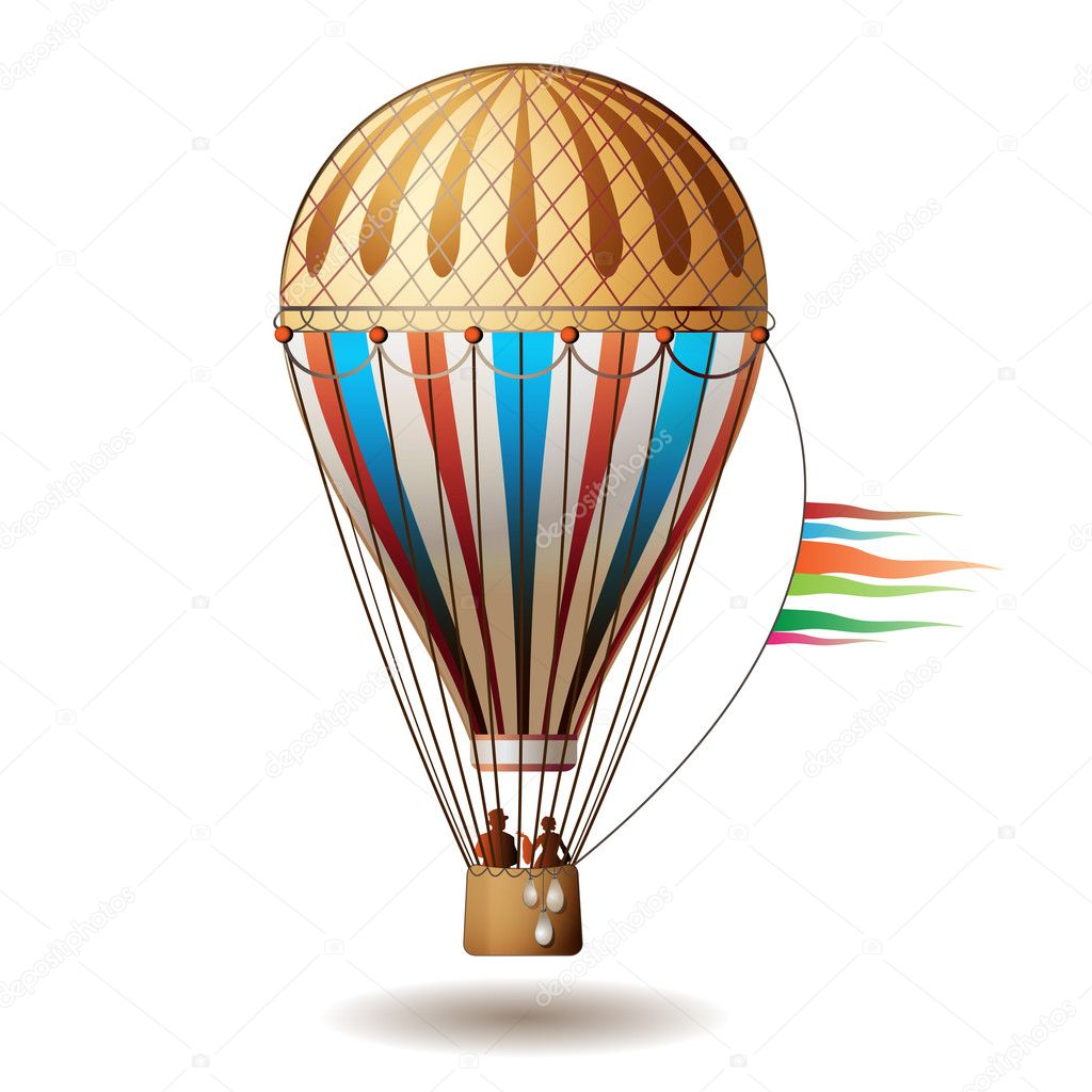 Colorful hot air balloon with silhouettes isolated on white background — Stock Vector #5404532