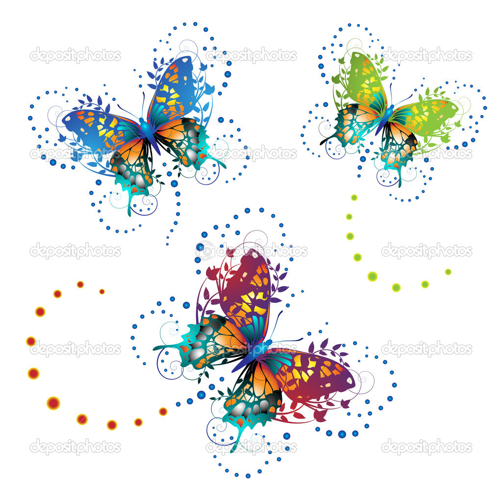 Stylized butterflies with twigs curls isolated on white background  — Stock Vector #5405735