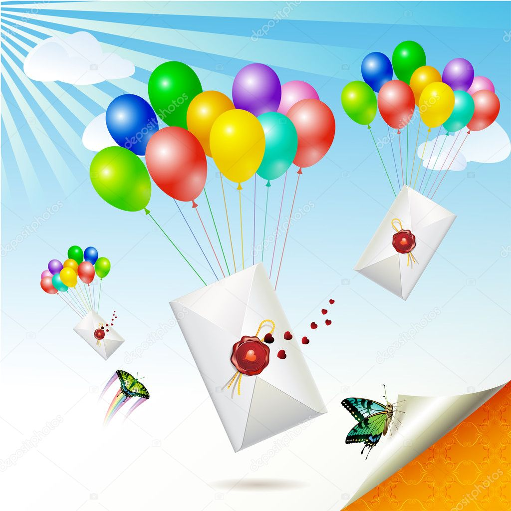 Envelopes with seal raised by balloons — Stock Vector #5407106