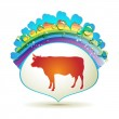 Label with cow — Stock Vector
