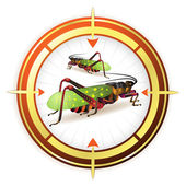 Target with grasshopper — Stock Vector