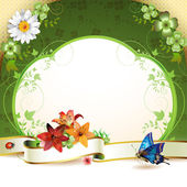 Banner con fiori — Vettoriale Stock