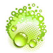 Green background with drops — Stock Vector