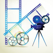 Circle film frames with camera — Stock Vector