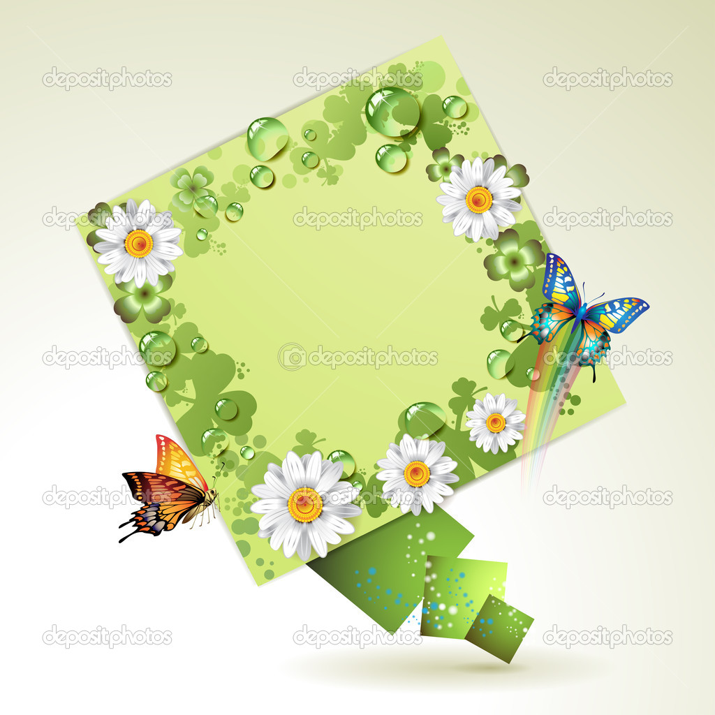 Green background with butterflies, flowers and drops of water — Stock Vector #6484026