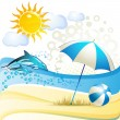 Beach with umbrella - Stock Vector