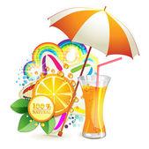 Portakal suyu bir bardak — Stok Vektör