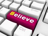 3d klávesnice s věřit textu — Stock fotografie