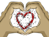 Heart shaped hand — Stock Photo