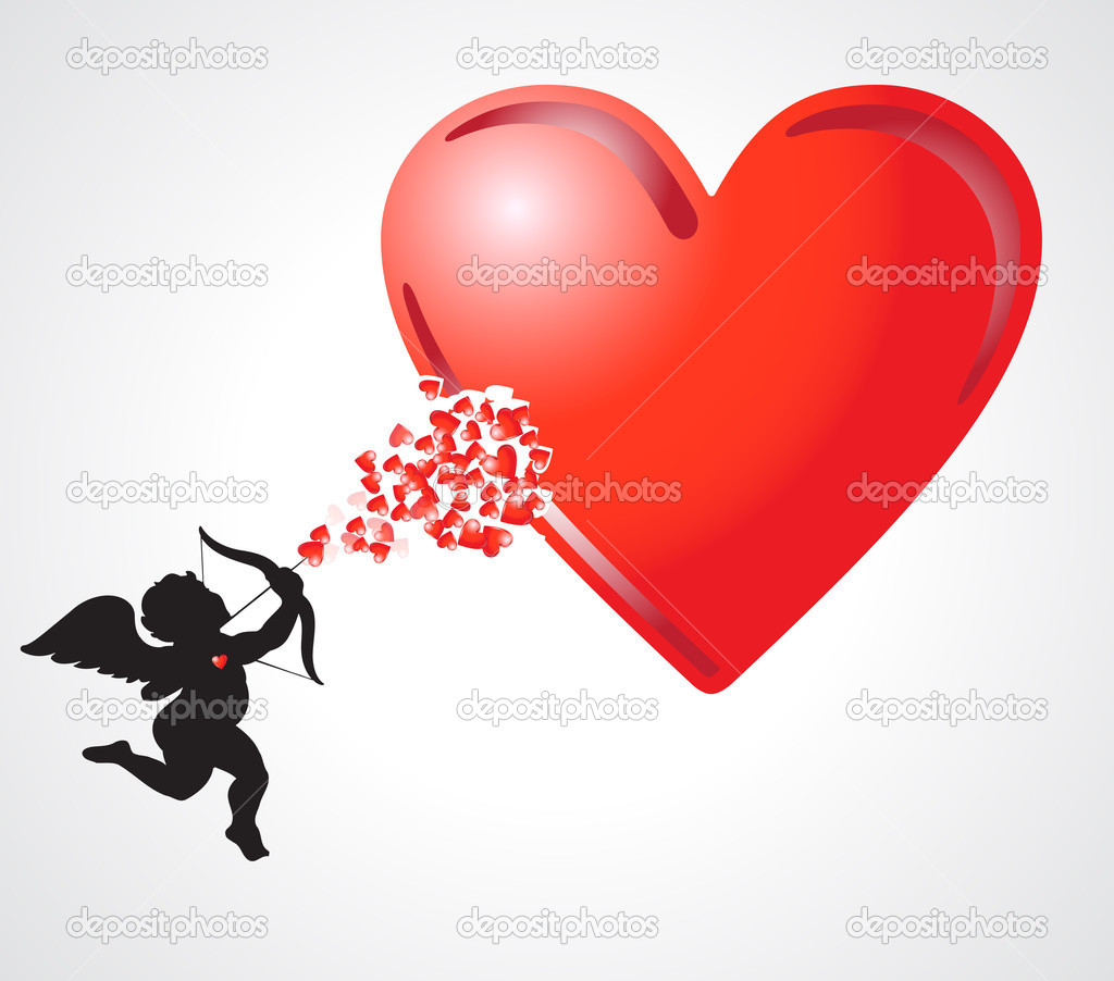 Cupid adding more hearts in the big heart — Stock Photo #5868193