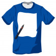 Blue tshirt with pen paper design — Stock Photo