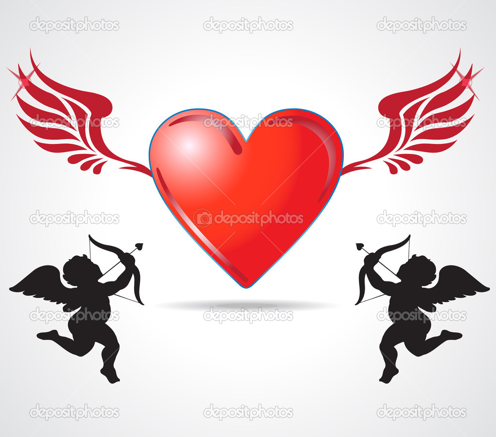 Two angle kids joining heart — Stock Photo #5877059