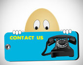 Egg looking contact us — Stock Photo