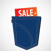 Sale tag in pocket — Stock Photo