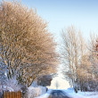 Winter landscape and road at sunset — Stock Photo #6537844