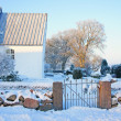 Christian cemetery in Denmark in winter - Stock Photo