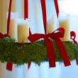 A photo of Advent wreath with big white candles — Stok fotoğraf