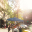 On the streets of New York - lens and motion blurred — Zdjęcie stockowe