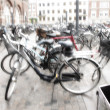 Bikes - lens and motion blurred - Stock Photo