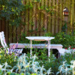 Stock Photo: White Garden table and chairs