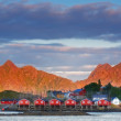 Harbor houses in Svovlvaer, Lofoten, Norway — Stock Photo