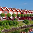 A photo of a series of red houses by the sea — Stock Photo