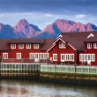 Harbor houses in Svovlvaer, Lofoten, Norway — Foto de Stock