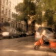 Scooter and Vintage urban landscape — Stock Photo